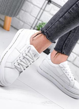 ❤ женские белые  кожаные кроссовки  calvin klein ❤