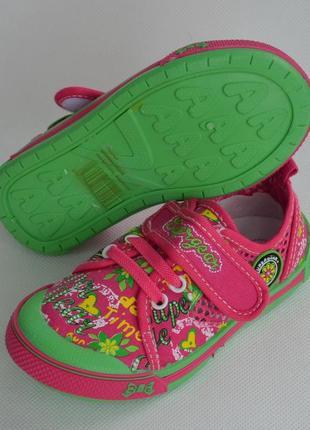Детские кеды тапочки мокасины для девочки super gear салатовый с розовым