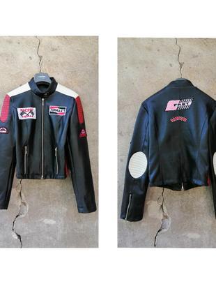 Винтаж стиль 90е косуха мото куртка мерч кожа