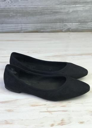 Замшевые чёрные балетки h&m