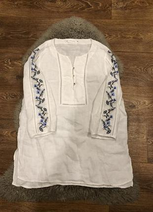 Шикарная блуза рубашка лён с вышивкой gerry weber