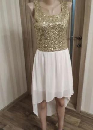Блестящее белое платье на роспись