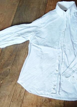 Рубашка белая школьная льняная 7-8л 128см