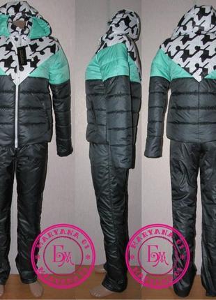 Утеплённый зимний костюм изумруд размер s, m