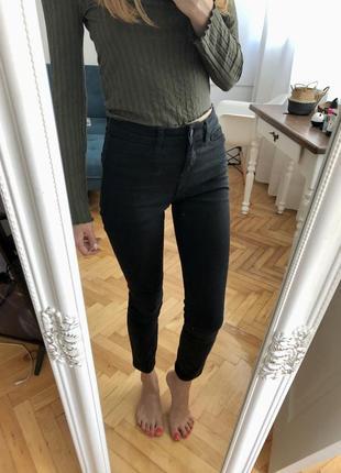 Чорні джинси скіні, xs-s, із завищеною талією