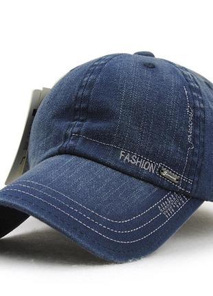 Бейсболка джинсовая синяя