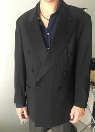 Шерстяной двубортный смокинг пиджак