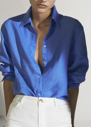 Льняная рубашка massimo dutti , рубашка из льна massimo dutti