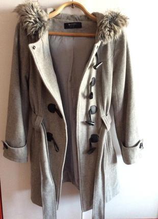 Тёплое демисезонное серое пальто (дафлкот)