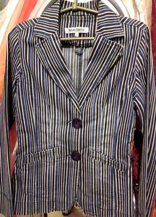 Стильный джинсовый пиджак на двух пуговицах