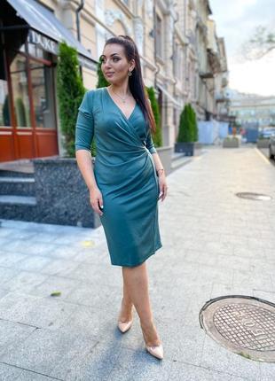 Элегантное женское платье батал, морская волна, электрик