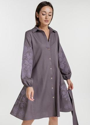 Платье-вышиванка с цветочками и птицами крестиком