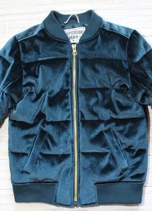 Велюровая куртка изумрудного цвета m&s на 7-8лет