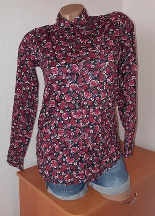 Рубашка из хлопка в цветочный принт  10 - 12 лет