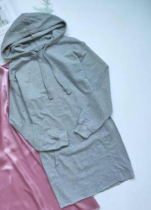 Плаття-худі bershka сірого кольору з карманом ❤
