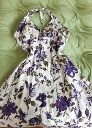 Платье (сарафан) в цветы с завязкой на шее