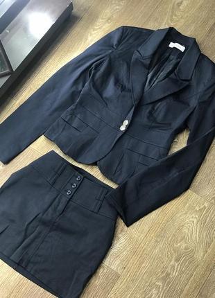Костюм деловой офисный школьный костюм пиджак и юбка темно синее
