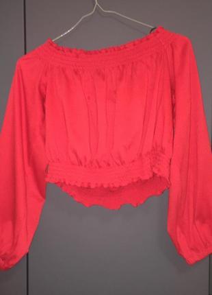 Кроп-блузка с длинным рукавом