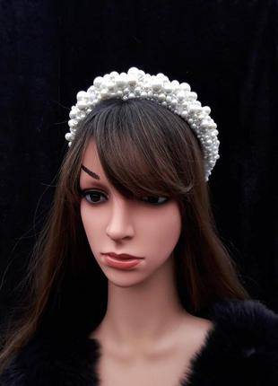 Свадебный белый обруч с керамическим жемчугом, тиара для невесты, ободок с жемчугом