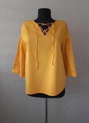 Хлопковая рубашка,блузка,блуза с прошвой,футболка с пышным рукавом,оверсайз