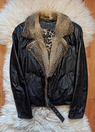 Кожаная куртка/косуха из мехом волка