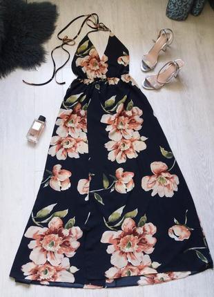 Цветочное платье..сарафан с голой спиной и запахом