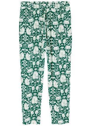 Зеленые брюки в цветочный принт zara zara