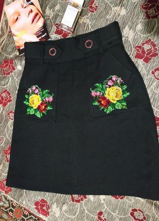 Юбка, юбка-трапеция, вышивка ручной работы