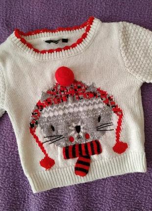 Красивый вязаный свитер кофточка с котиком от george