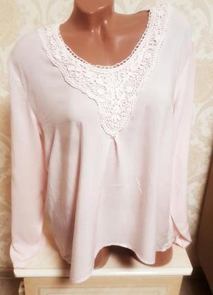 Стильная нежно розовая блуза, 100%вискоза