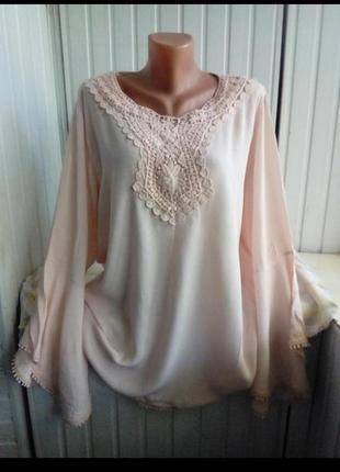 Итальянская вискозная кружевная блуза большого размера батал