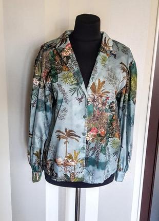"""Шикарная модная блузка рубашка """"атлас"""" в модный принт"""