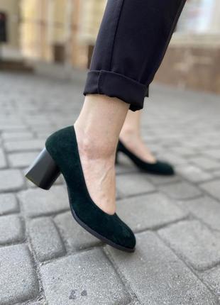Зеленые замшевые велюровые туфли лодочки на каблуке