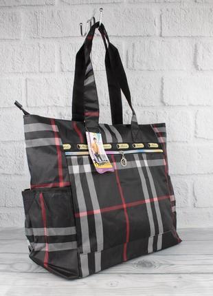 Сумка шоппер большая, пляжная, хозяйственная lesportsac 9802-10 черная клетка текстильная