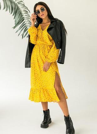 Элегантное платье миди в цветочный принт