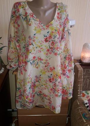 Очаровательная блуза, туника. ткань воздушная - хлопок и шелк! бренд  penn&ink n.y.