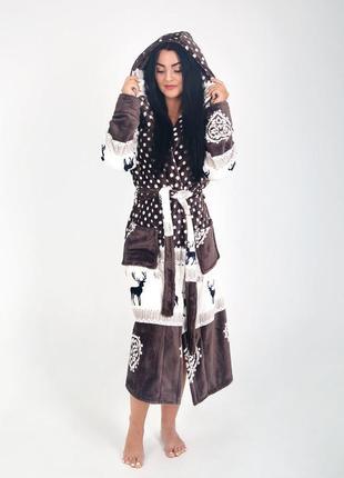 Красивый женский махровый халат