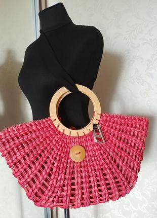 Плетеная сумка корзинка натуральная бохо