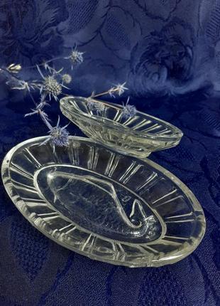 Икорница блюдо салатник ссср стекло львов радуга винтаж рыба