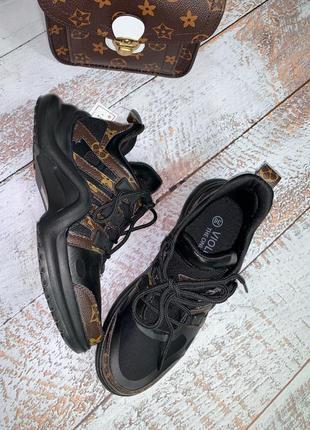 Чёрные кроссовки louis vuitton