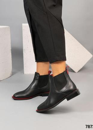 ❤ женские черные кожаные осенние демисезонные ботинки челси ботильоны ❤