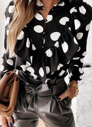Блуза с рюшами в горох