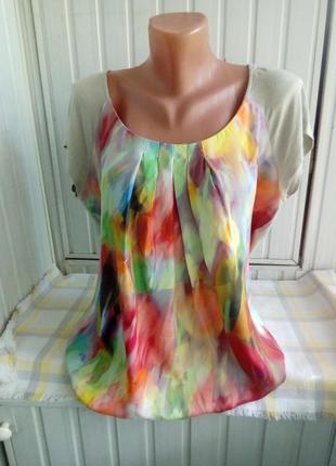 Вискозная блуза с шелковой вставкой