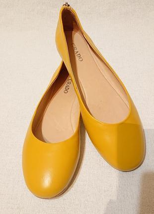 Женские кожаные туфли балетки, 39 р. желтого цвета, кожа, желтые