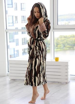 Цветной длинный махровый халат с капюшоном. тёплый халат. 46-54