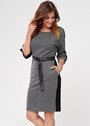 Платье миди до колена с узором поясом рукав 3/4 осеннее sunwear cs205-5-10 серое черное