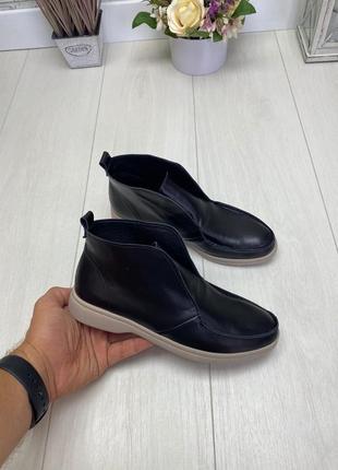 Женские ботинки черные на низком ходу натуральная кожа kosa 1-10