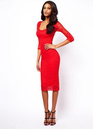 Платье asos миди ярко-красное ажурное