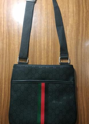 Сумка через плечо в стиле гуччи с зелено-красной полосой, сумка мессенджер, планшет