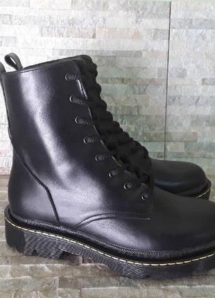 Черные зимние ботинки, зимние мартинсы, кожаные ботинки, кожаные зимние ботинки
